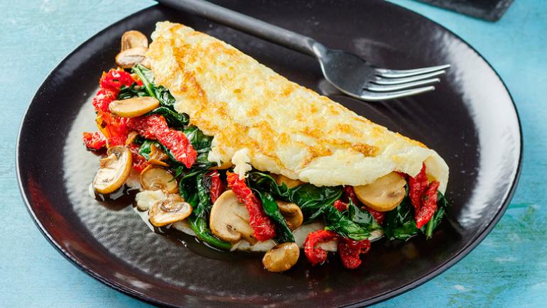 Omelette con Espinaca y Champiñones